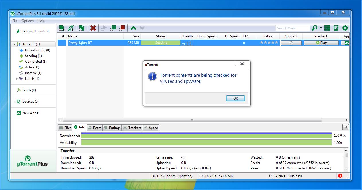 torrent download was detected